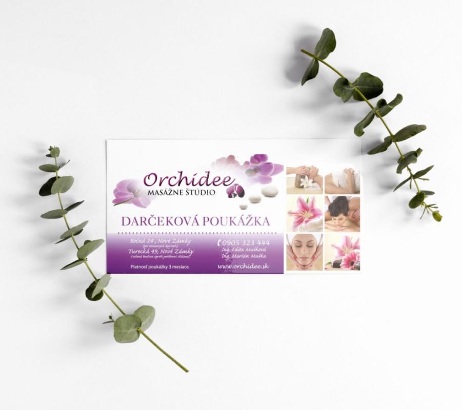 Návrh a výroba darčekovej poukážky Orchidee - masážne štúdio
